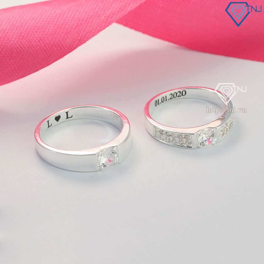 Nhẫn đôi bạc nhẫn cặp bạc khắc tên Hà Nội ND0446