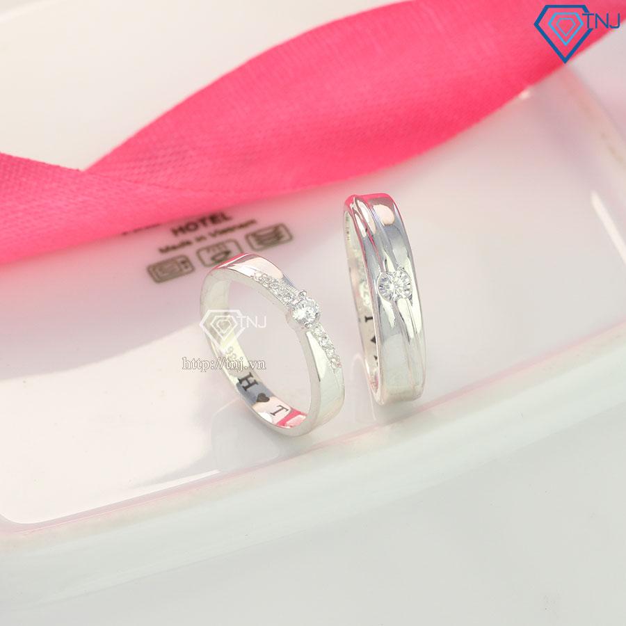 Nhẫn đôi nam nữ bằng bạc ND0449