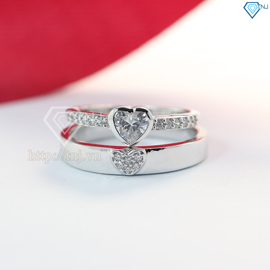nhẫn đôi bạc nhẫn cặp bạc đẹp ND0379