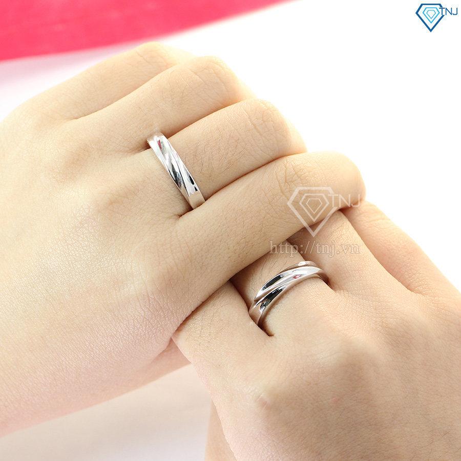Nhẫn đôi bạc nhẫn cặp bạc đẹp đơn giản ND0013