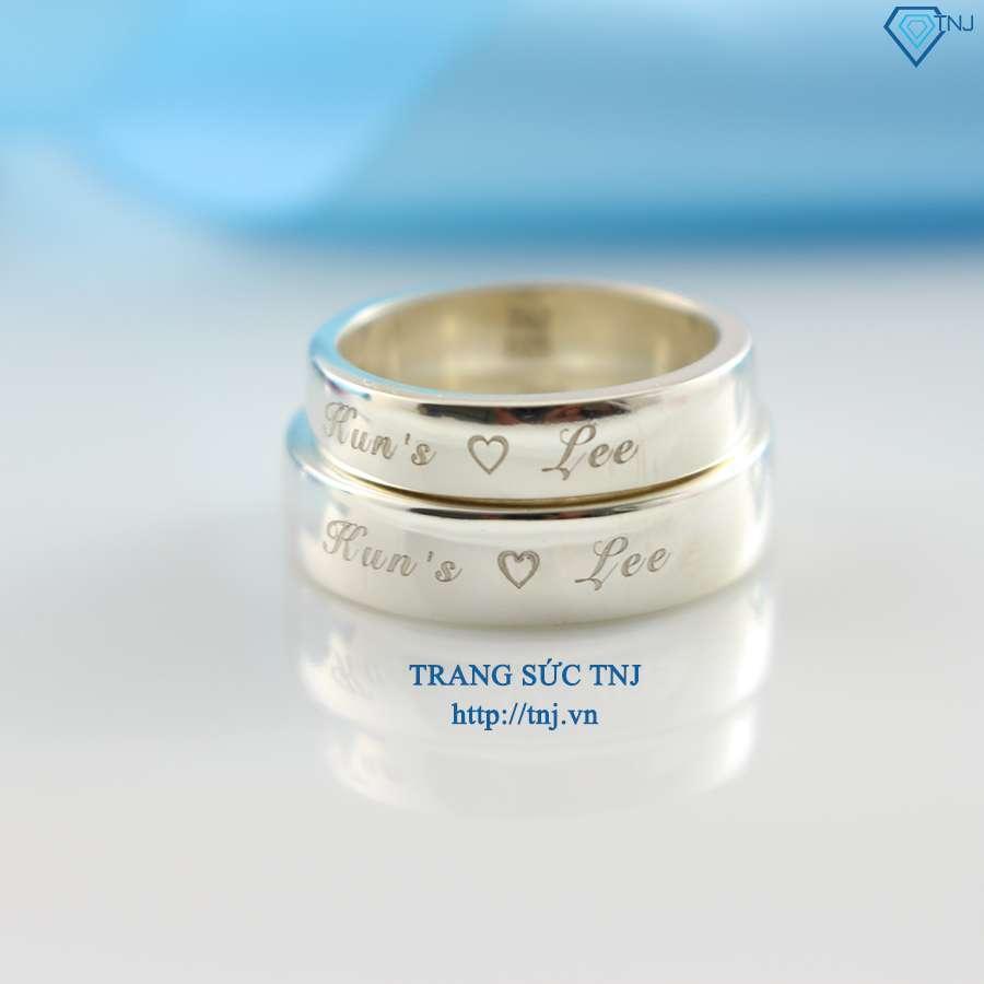 nhẫn đôi bạc nhẫn cặp bạc trơn khắc tên ND0068