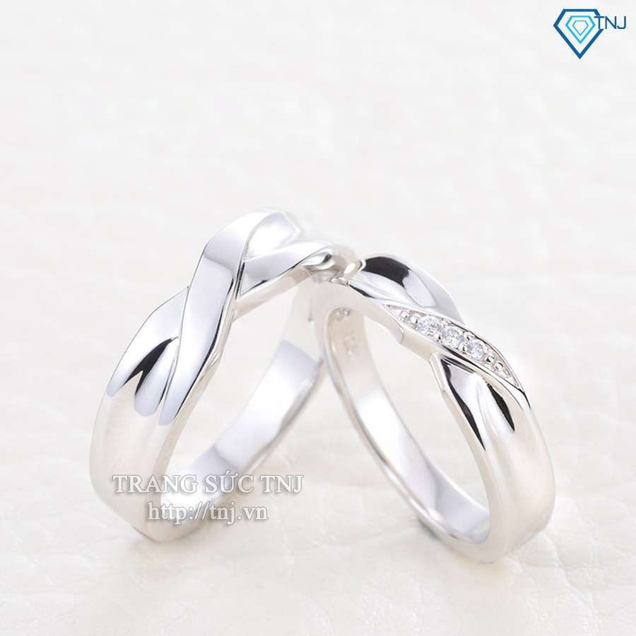nhẫn đôi bạc nhẫn cặp bạc đẹp nd0183