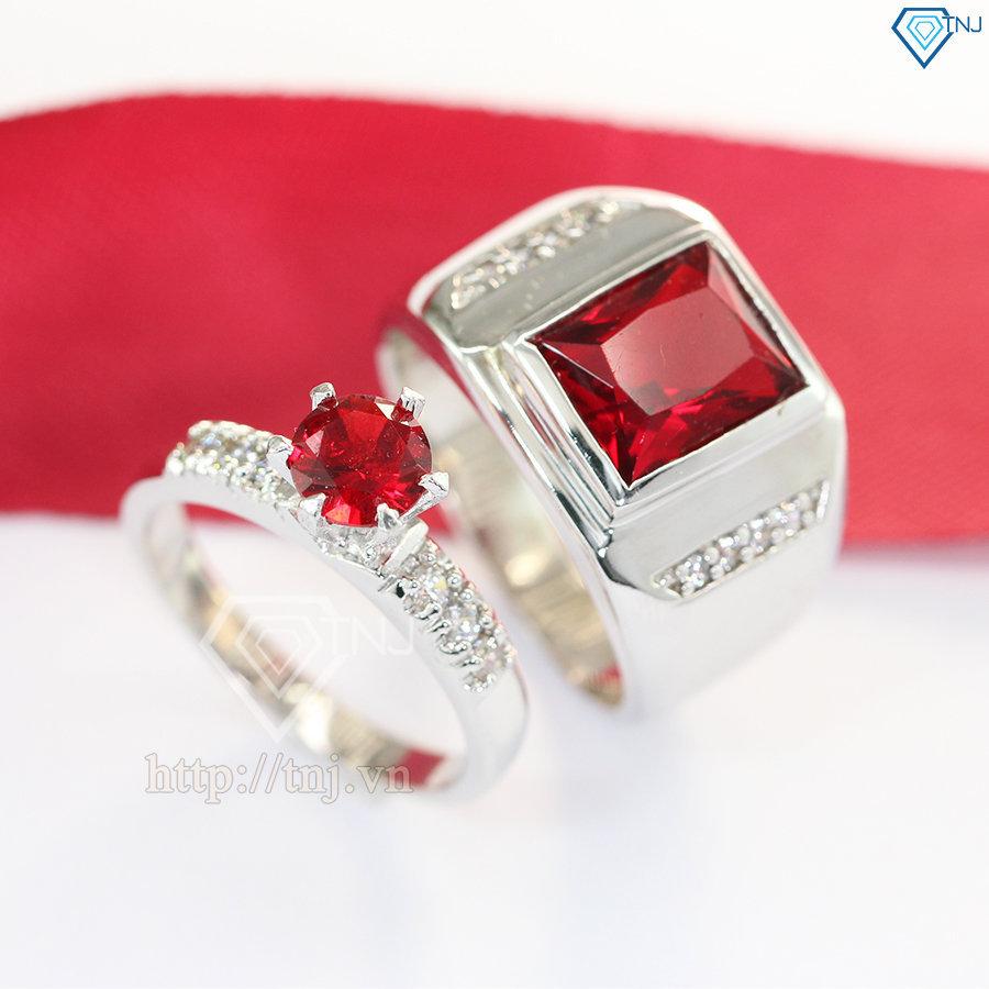 Nhẫn đôi bạc nhẫn cặp bạc đẹp đính đá đỏ sang trọng ND0211
