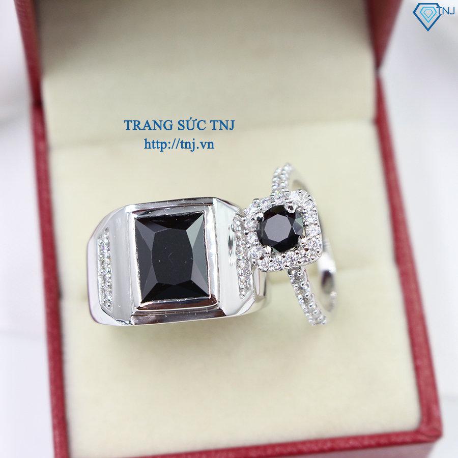 Nhẫn đôi bạc nhẫn cặp bạc đẹp đính đá đen ND0226