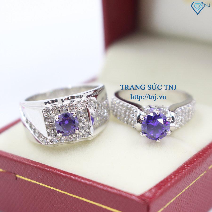 Nhẫn đôi bạc nhẫn cặp bạc đẹp đính đá tím ND0247