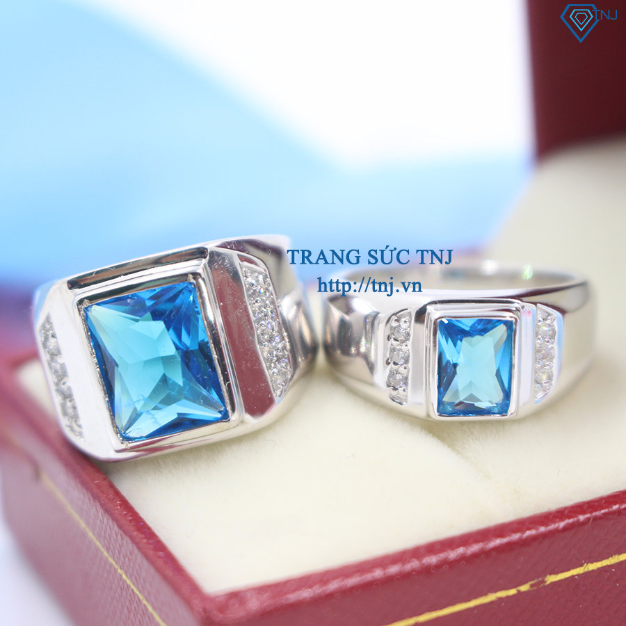 Nhẫn đôi bạc nhẫn cặp bạc đẹp đính đá xanh dương ND0248