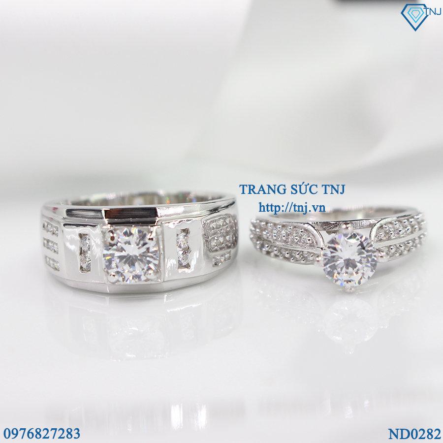 nhẫn đôi bạc nhẫn cặp bạc đẹp ND0282