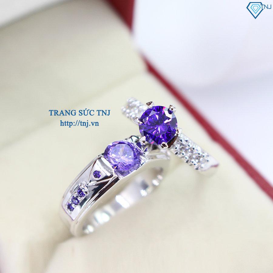 nhẫn đôi bạc nhẫn cặp bạc đẹp đính đá tím ND0285