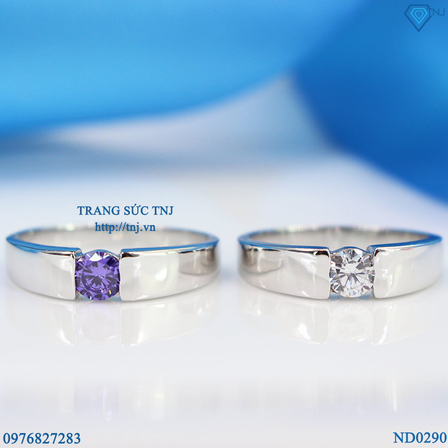 nhẫn đôi bạc nhẫn cặp bạc đẹp ND0290