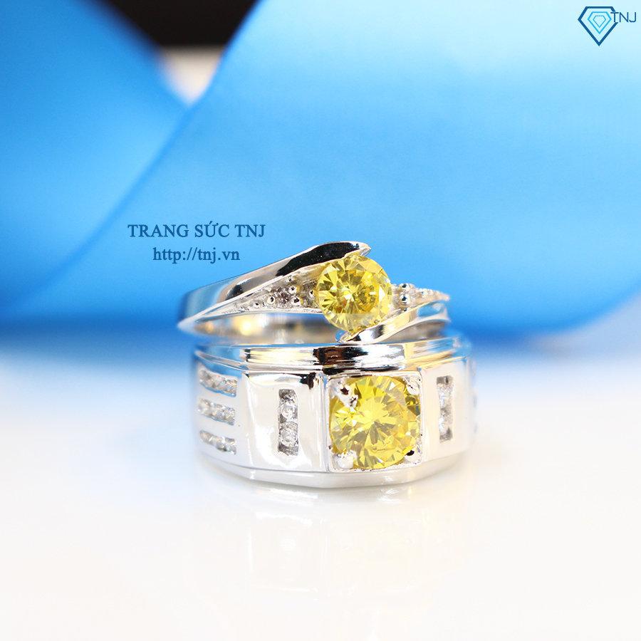 nhẫn đôi bạc nhẫn cặp bạc đẹp đính đá vàng ND0291