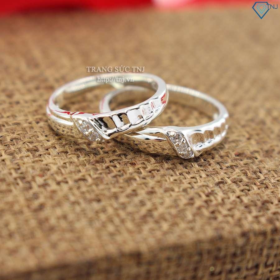 nhẫn đôi bạc nhẫn cặp bạc đính đá đơn giản tinh tế ND0312