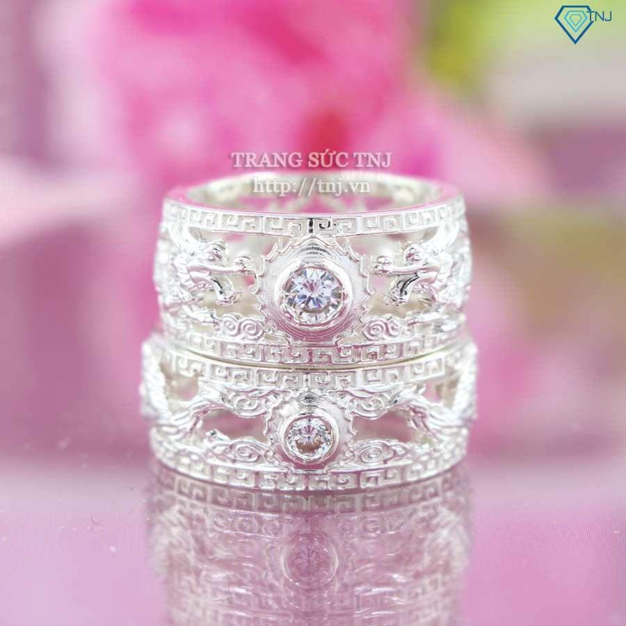 nhẫn đôi bạc nhẫn cặp bạc Long Phượng sum vầy ND0318