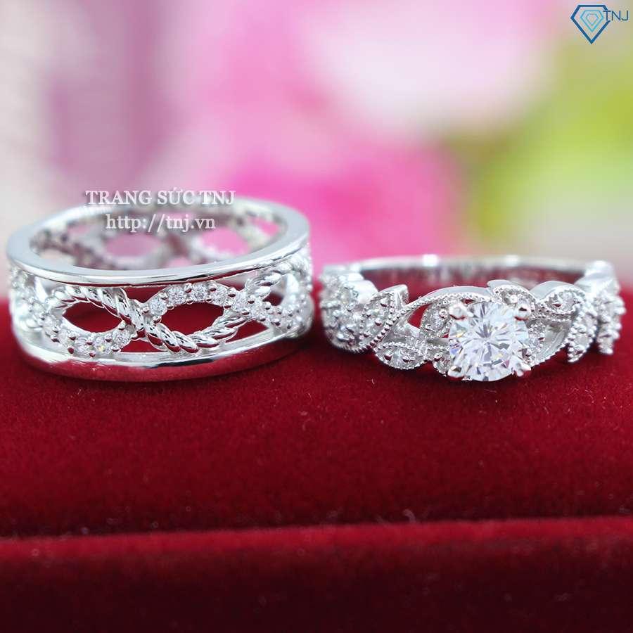 nhẫn đôi bạc nhẫn cặp bạc đẹp đính đá ND0321