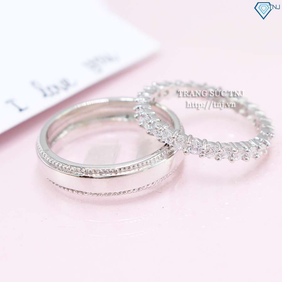 nhẫn đôi bạc nhẫn cặp bạc đẹp đính đá ND0323