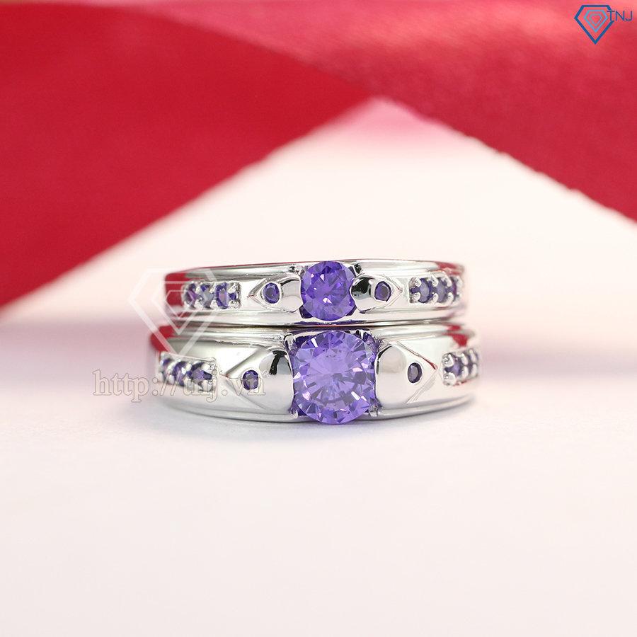 nhẫn đôi bạc nhãn cặp bạc đẹp đính đá tím ND0373
