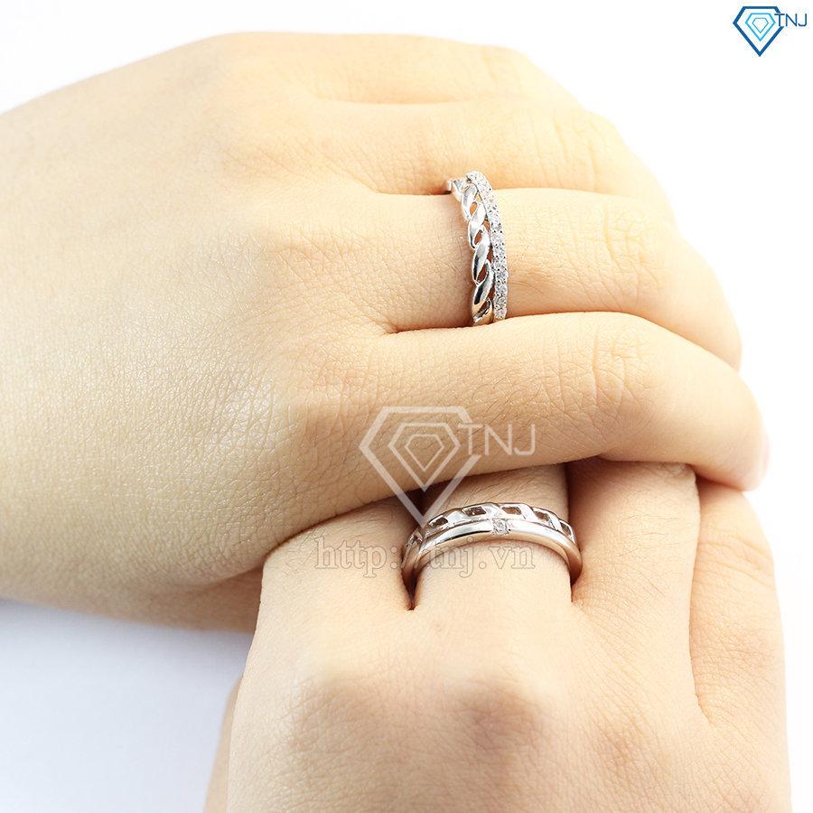 nhẫn đôi bạc nhẫn cặp bạc đẹp ND0376