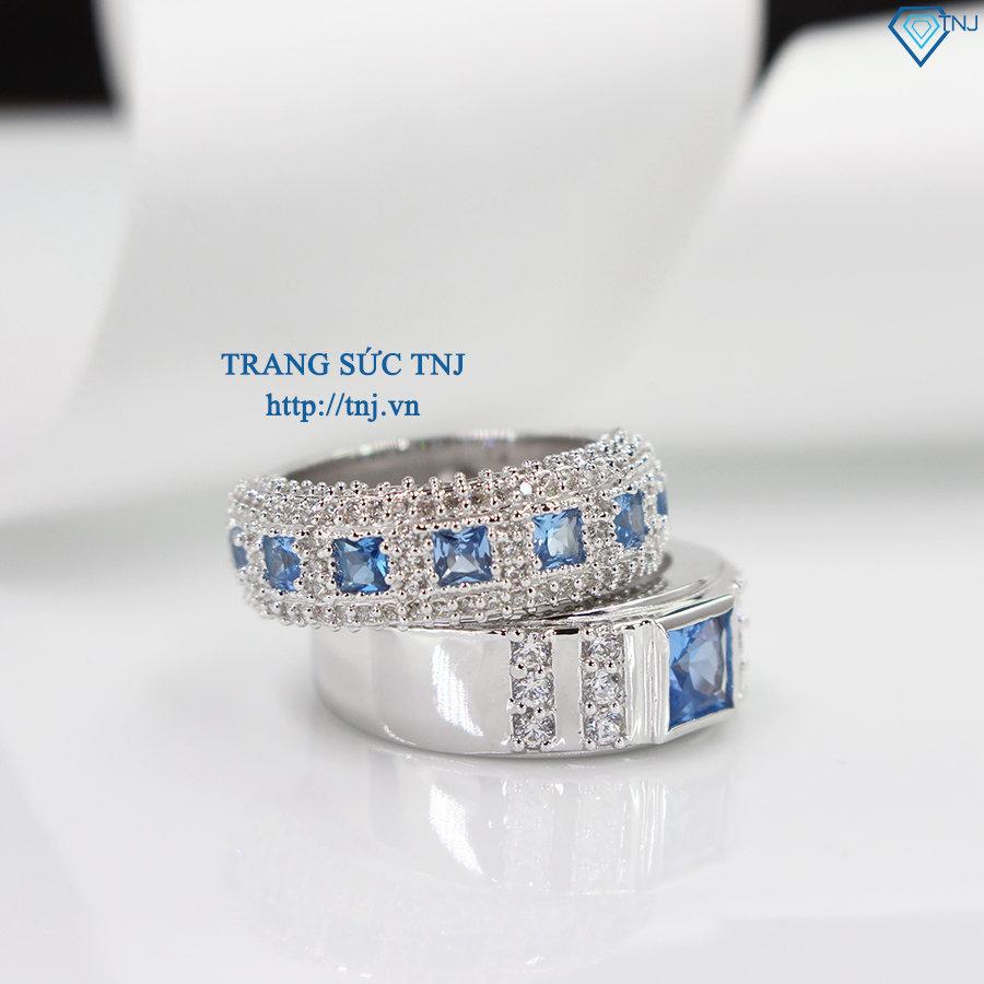 Nhẫn đôi bạc nhẫn cặp bạc đẹp đính đá xanh dương topaz ND0281
