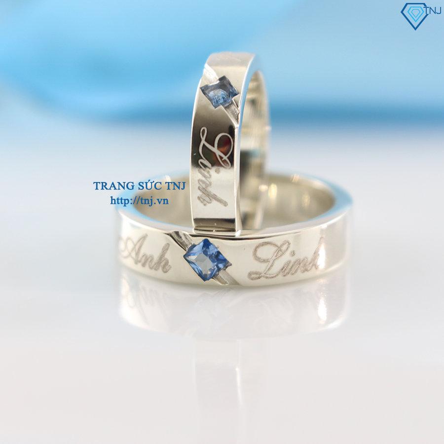 Nhẫn đôi bạc nhẫn cặp bạc đẹp khắc tên ND0164