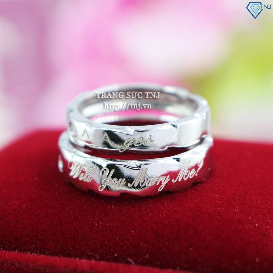 nhẫn đôi bạc nhẫn cặp bạc đẹp khắc tên ND0322