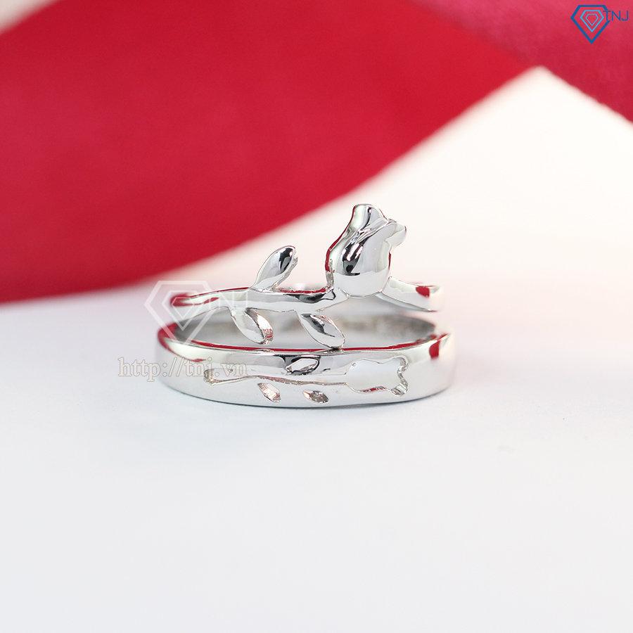 Nhẫn đôi bạc nhẫn cặp bạc hoa hồng đẹp ND0380