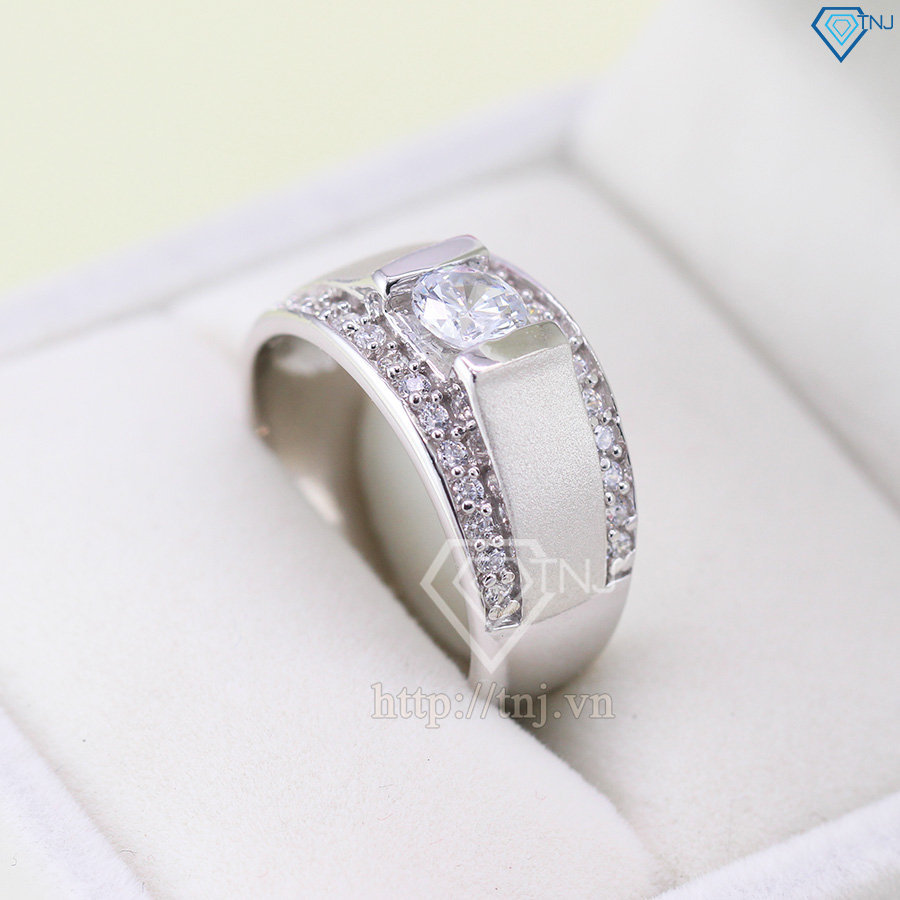 Nhẫn bạc nam mặt đá trắng đẹp NNA0037