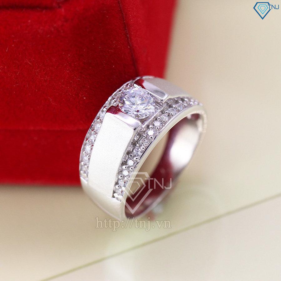 Nhẫn bạc nam mặt đá trắng đẹp nhất NNA0037