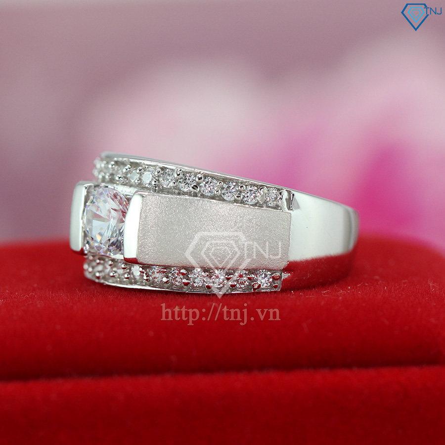 nhẫn bạc nam mặt đá trắng