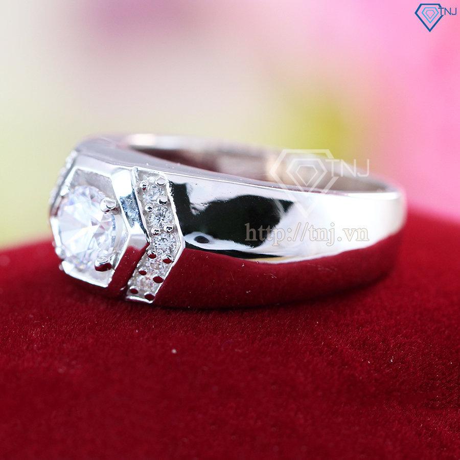 Nhẫn bạc nam đơn giản đính đá đẹp NNA0045