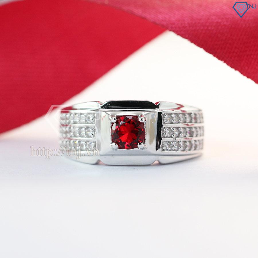 Nhẫn bạc nam mặt đá đỏ NNA0046