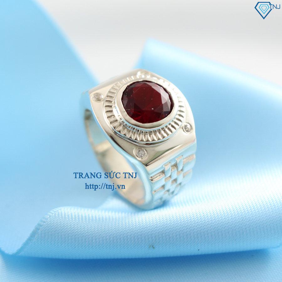 Nhẫn bạc nam mặt đá đỏ sang trọng NNA0050