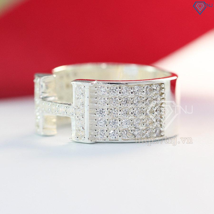 Nhẫn nam bạc hình chữ H đẹp đính đá tinh xảo NNA0052