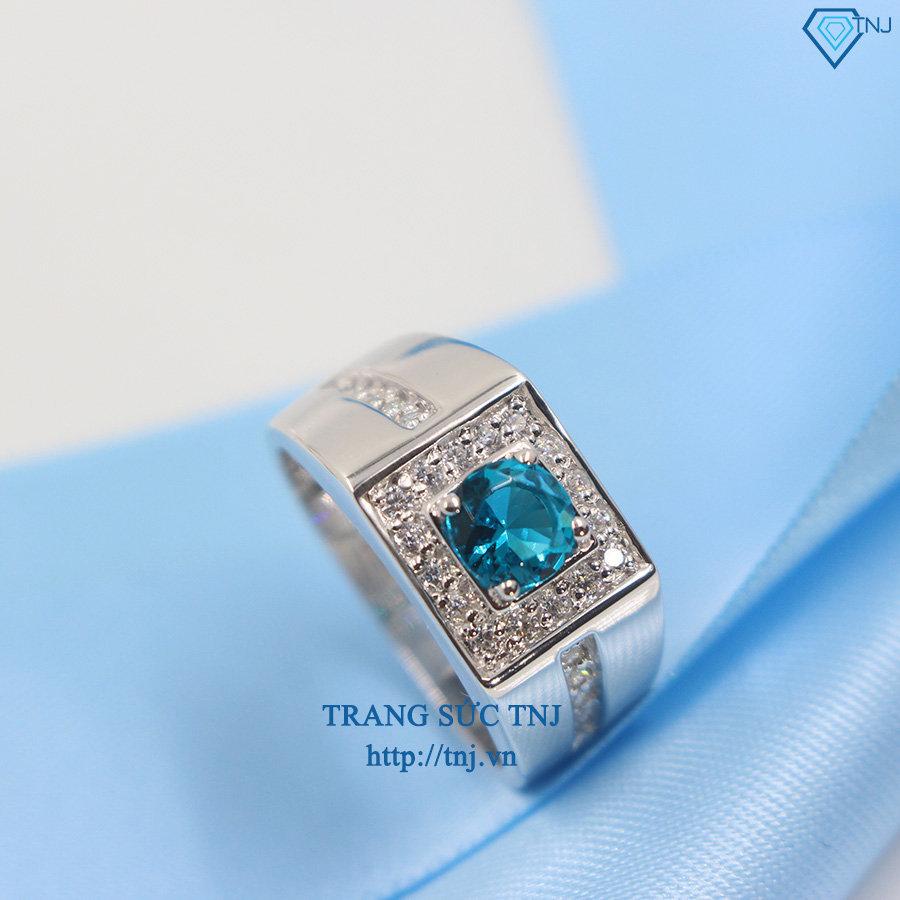 Nhẫn bạc nam mặt đá xanh NNA0062
