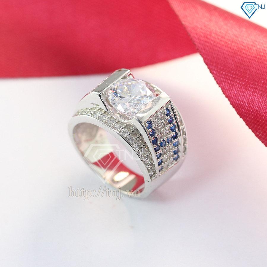 Nhẫn nam bạc đẹp đính đá chữ H NNA0063