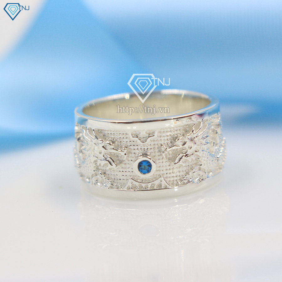 Nhẫn bạc nam hình rồng mặt đá xanh NNA0067
