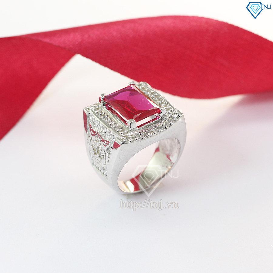 Nhẫn bạc nam đầu hổ đính hột đỏ NNA0070