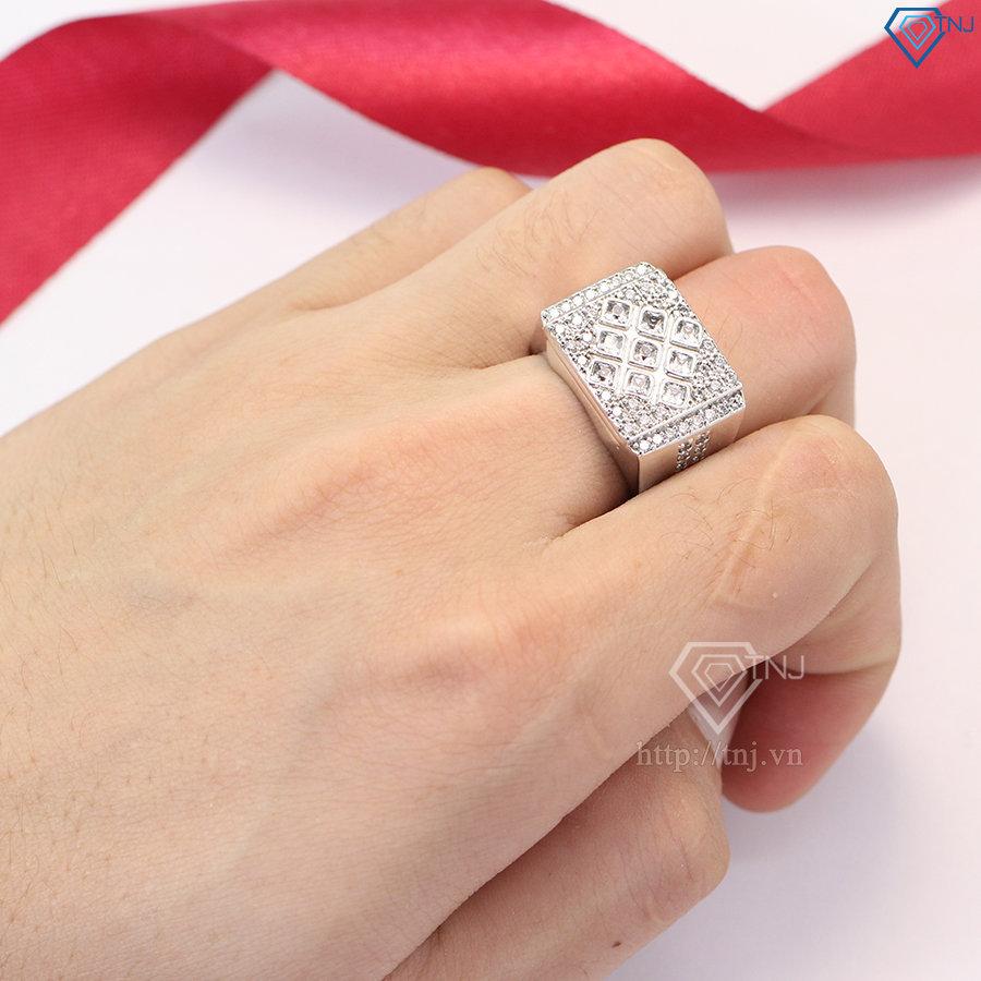 Nhẫn bạc nam mặt đá vuông sang trọng NNA0072