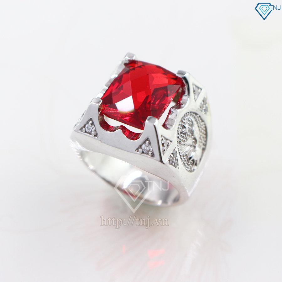 nhẫn bạc nam hình đại bàng mặt đá đỏ đẹp NNA0073