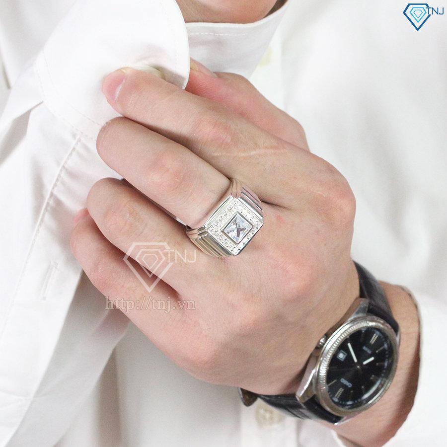 Nhẫn bạc nam đẹp mặt đá trắng sang trọng NNA0097