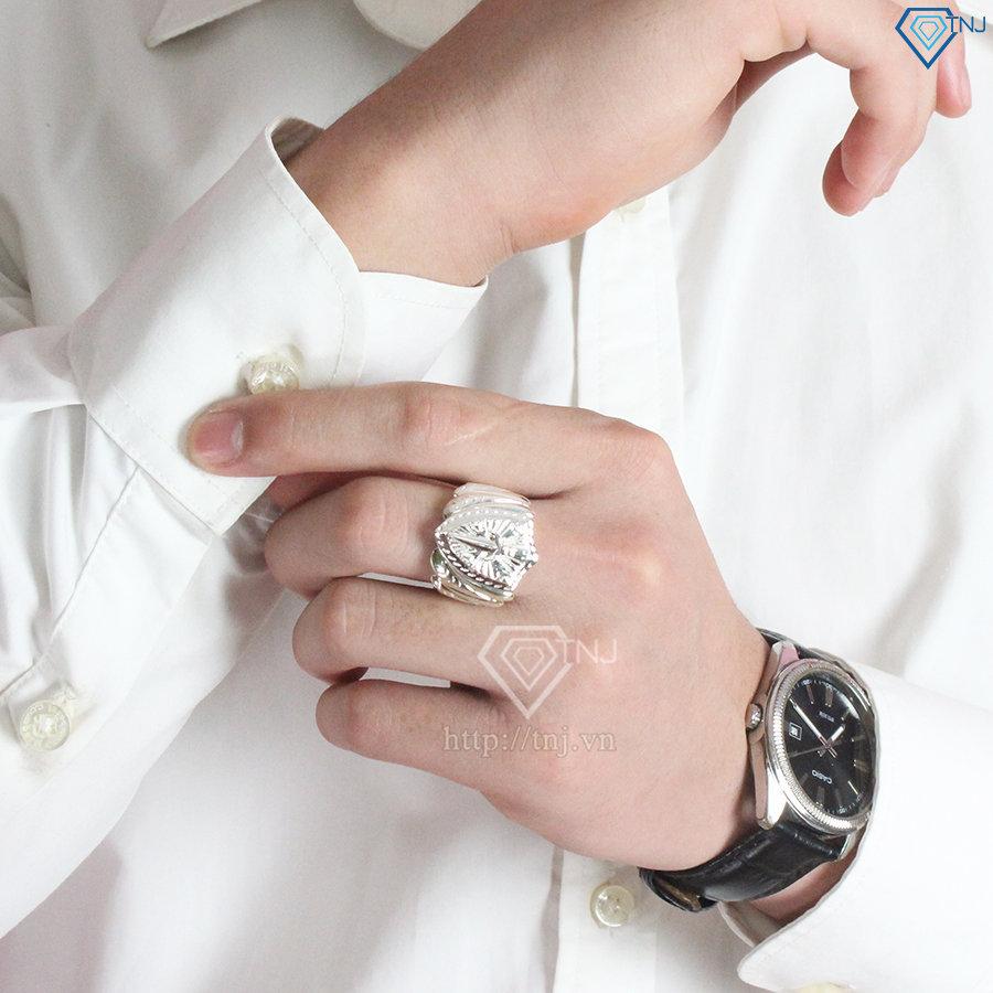 Nhẫn bạc nam mặt khiên kiếm nam tính đẹp NNA0098