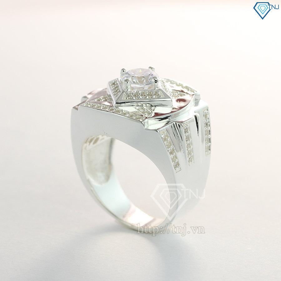 Nhẫn bạc nam đẹp mặt đá trắng sang trọng NNA0100