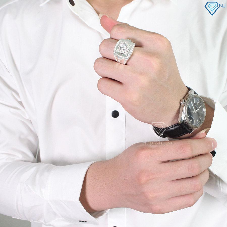Nhẫn bạc nam đẹp mặt đá trắng NNA0100