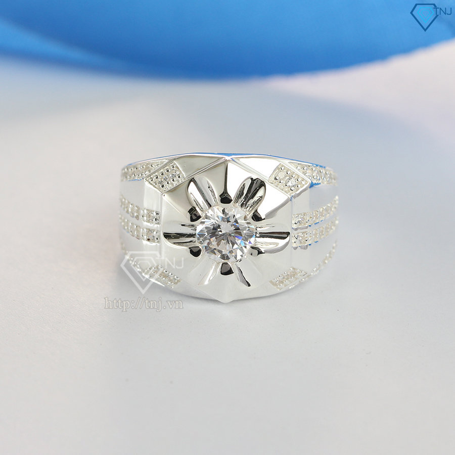 Nhẫn bạc nam đẹp mặt đá chìm tinh tế NNA0102