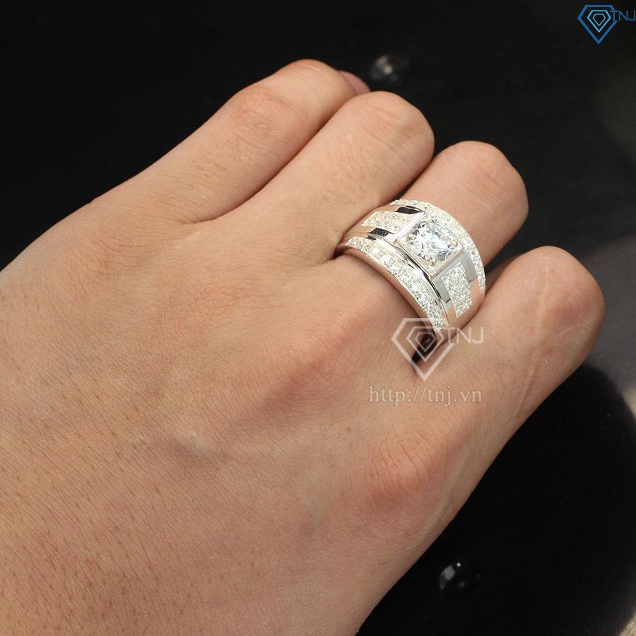 Nhẫn bạc nam đẹp mặt đá trắng sang trọng NNA0103