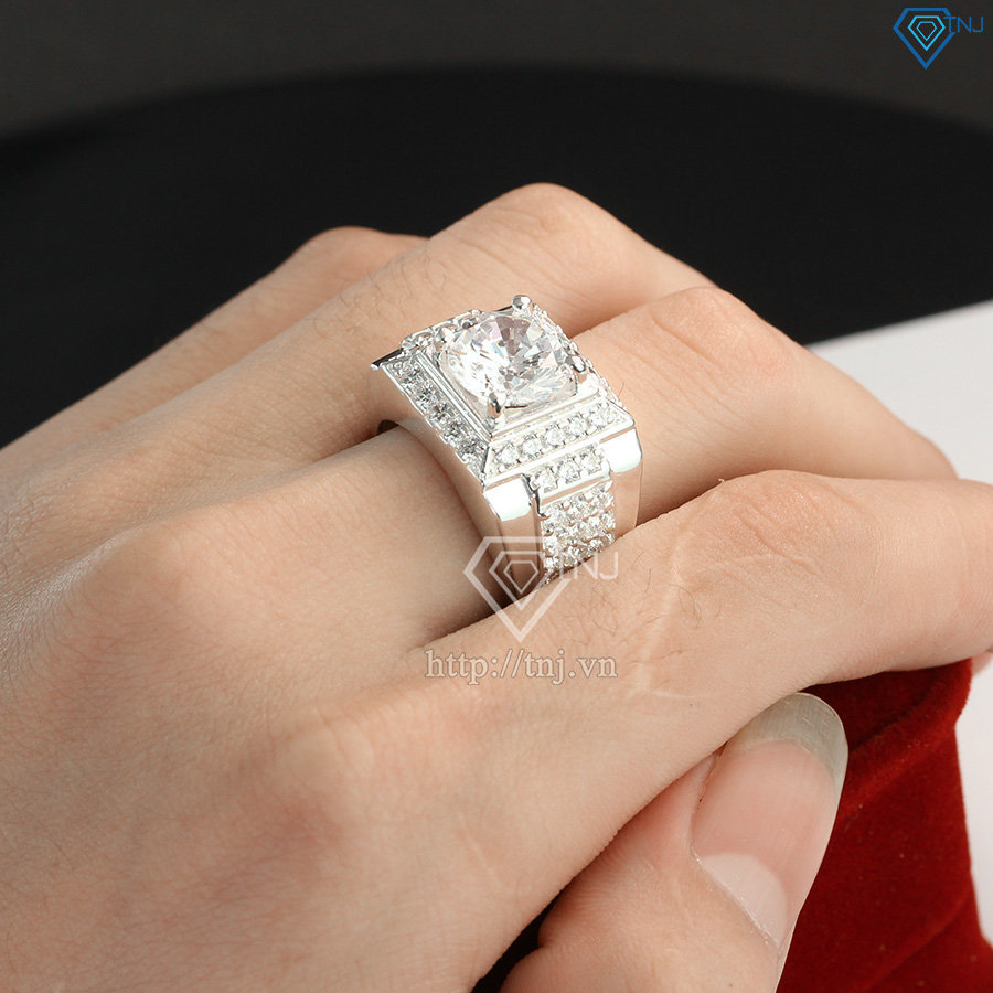 Nhẫn bạc nam mặt đá trắng giá rẻ tại Hà Nội NNA0110