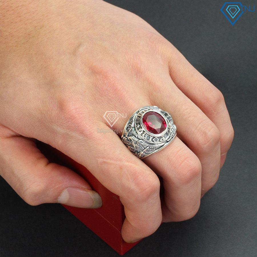 Nhẫn Mỹ West Point năm 1986 đính đá đỏ NNA0130
