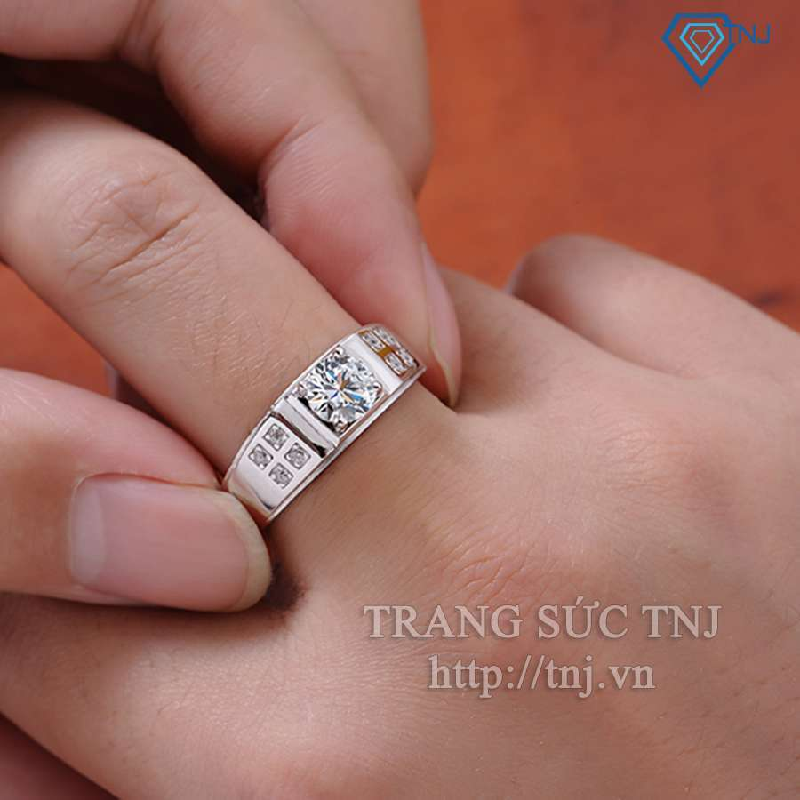 nhẫn bạc nam đẹp đính đá sang trọng  NNA0035