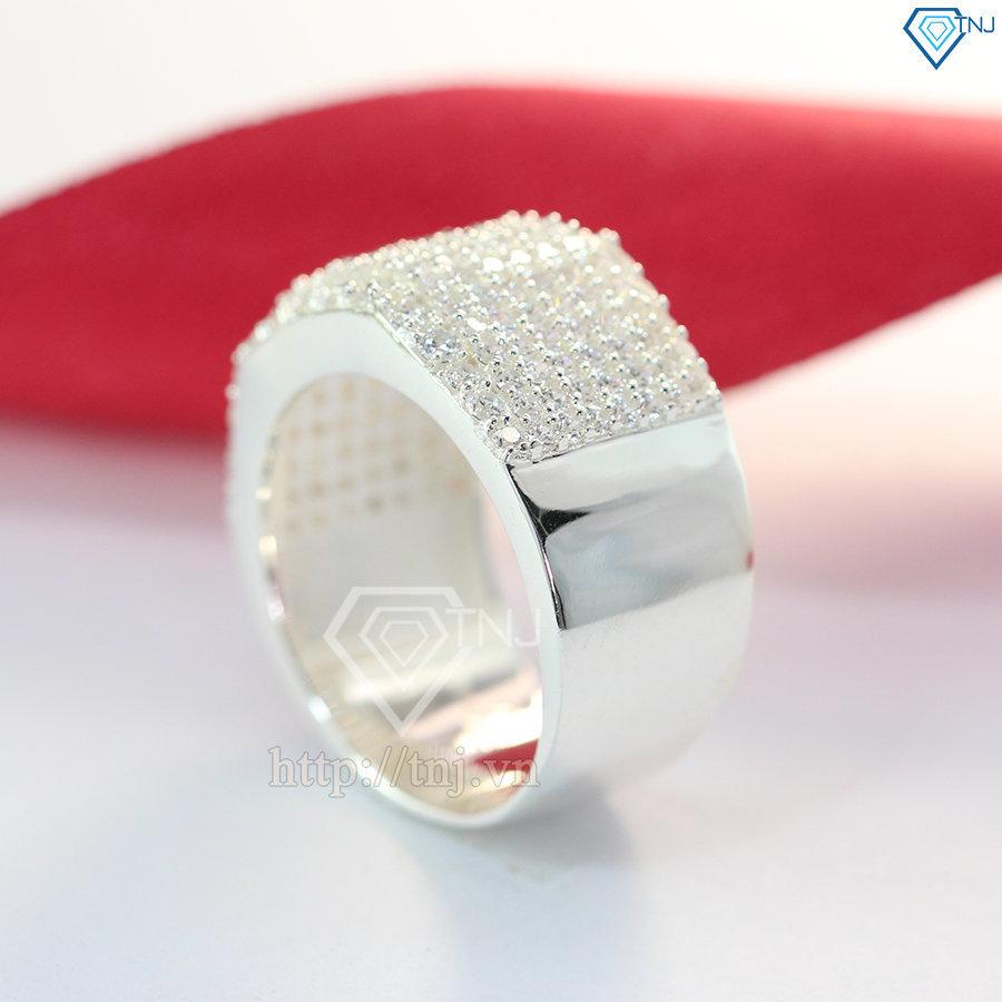 Nhẫn bạc nam đính mặt đá trắng sang trọng NNA0092