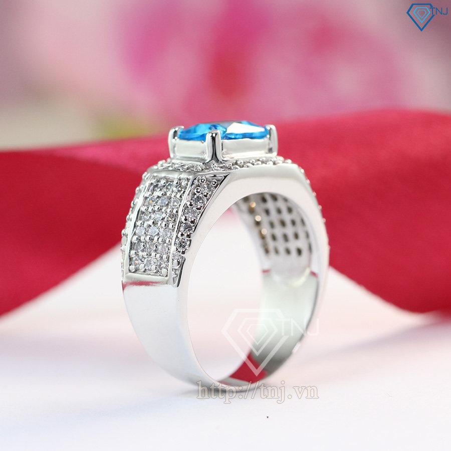 nhẫn bạc nam đẹp mặt đá xanh dương  sang trọng NNA0096