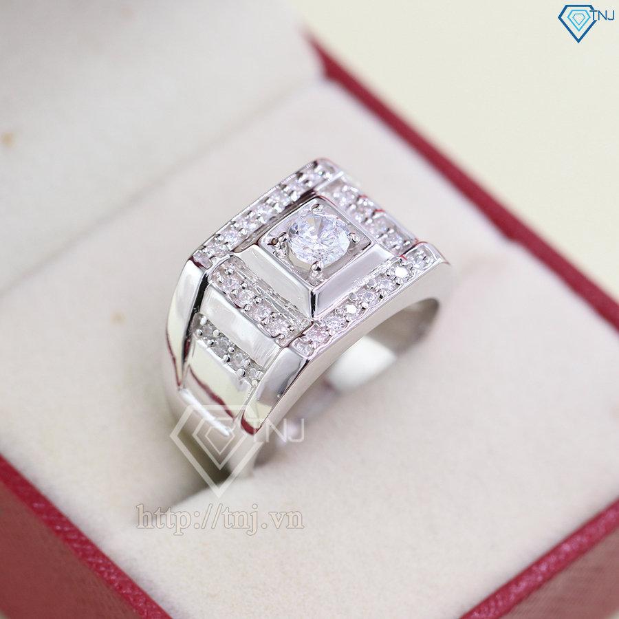 nhẫn bạc nam đẹp đính đá sang trọng NNA0076