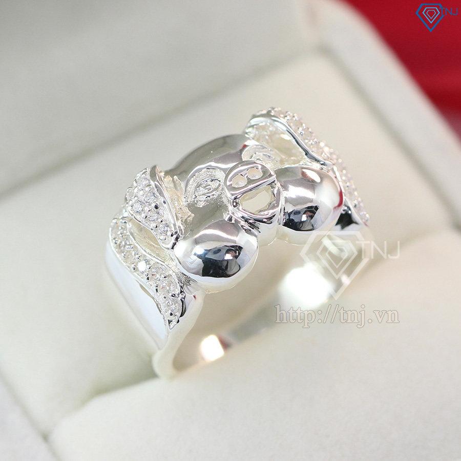 nhẫn bạc nam hình mặt heo cho người tuổi hợi NNA0091